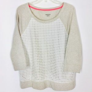 Merona Women's Sweater With white lace overlay